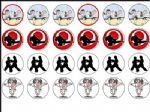 24 x Mixed Karate 1.6'' Wafer rice Cup Cake Toppers